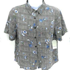 Casual Button Down Floral & Plaid Top